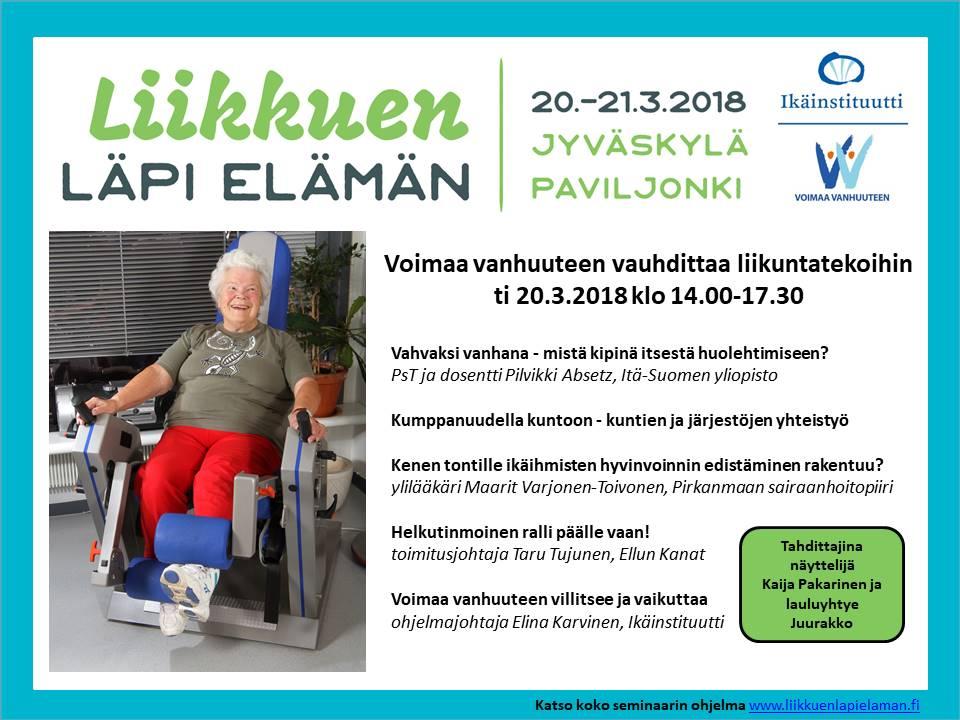 Voimaa vanhuuteen vauhdittaa liikuntatekoihin 20.3.2018